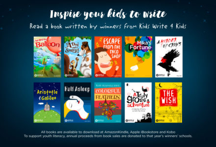 Photograph of the winning books from the Kids Write 4 kids Contest