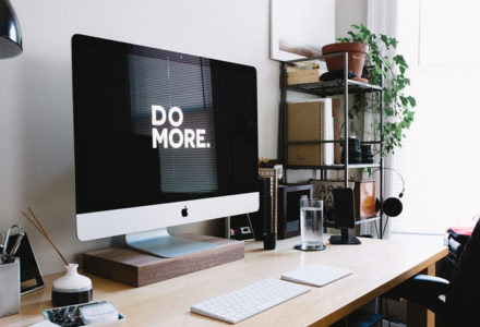 Photograph of an organised desk space for the blog post, 'Three Lessons For A Cleaner Lifestyle'