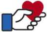 Illustration of a logo of a hand holding onto a heart for the Facebook charity