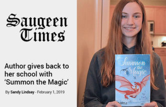 Photograph of The author, Emily Little for the article, 'Author gives back to her school with 'Summon the Magic' published by the Saugeen Times