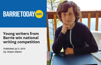 BarrieToday article of young writers winning national writing competiton