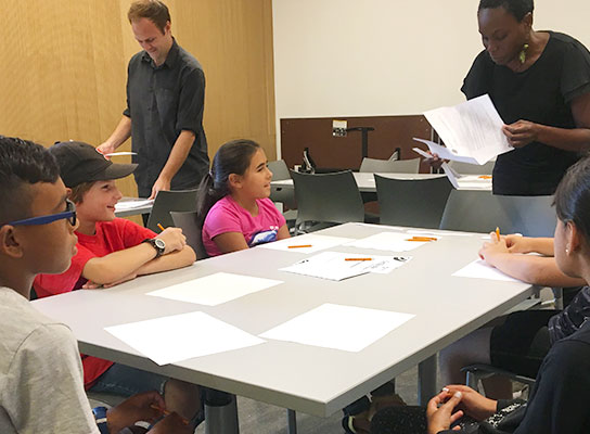 Young authors brainstorming in a Write It Workshop