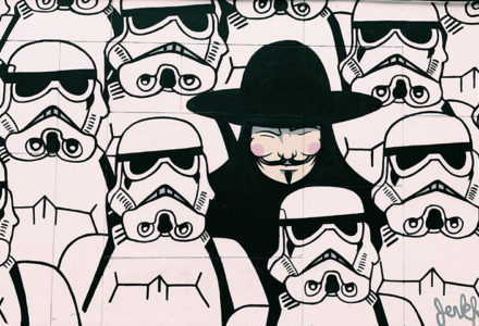 image of a figure in black in a crowd of storm troopers for Fanfics Are for Everyone