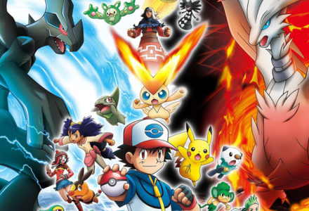 A Pokemon trainer stands against the backdrop of other Pokemon battling.