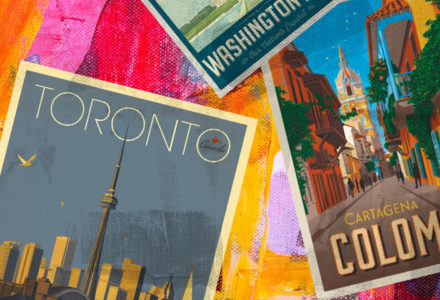Postcards from Toronto, Colombia and Washington D.C. sit on top of a yellow, red and pink background.