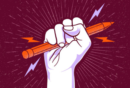 A powerful cartoon fist holds a pencil with lightning bolts coming out of it.