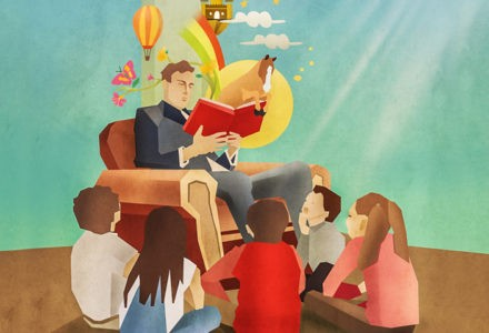 A man reads a magical book with characters coming out of it to a group of kids.