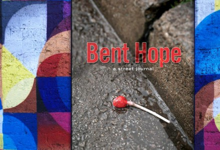 The cover of Bent Hope by Tim Huff. It features a lollipop with a bent stick sitting on the ground.