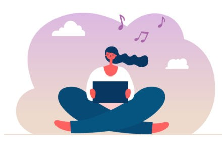 A person sits cross-legged, as she is engaged in online learning on a tablet. Clouds and musical notes surround them.