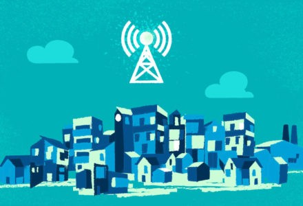A cell tower is placed over top of a town, showing how the town needs online services to stay connected during the pandemic.