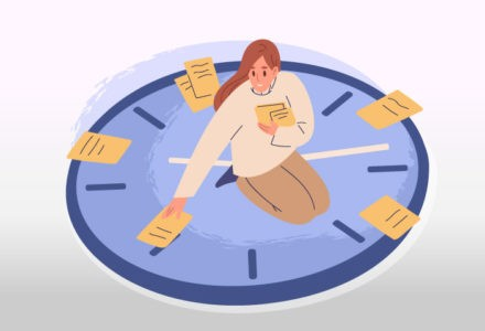 A person sits on a cartoon clock face and puts pieces of paper, which represents tasks they must accomplish, at the different hour marks.
