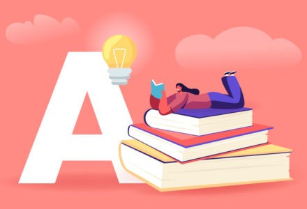 A person rests on top of a pile of books while reading another book. The stack of books is situated next to a large letter 'A' with a lightbulb above it.