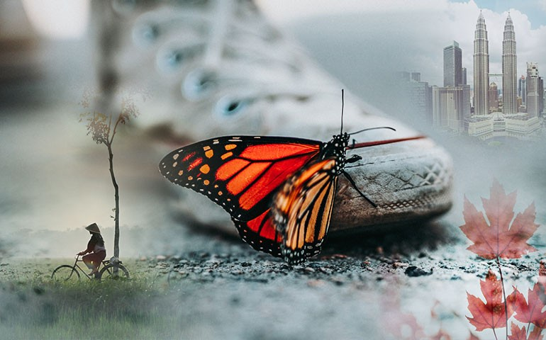 A butterfly sits on a person's shoe. It represents both change and moving.