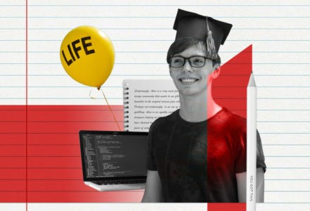 """A student with a graduation cap sits against a background of a laptop and a notebook, along with a balloon that says """"life"""" on it."""