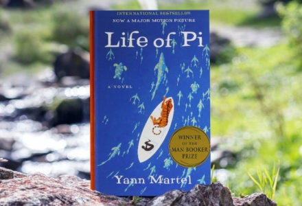 The cover of Yann Martel's Life of Pi is shown against the background of a natural scene.
